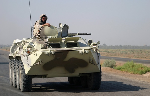 Picture road, war, army, soldiers, Iraq, BTR-80