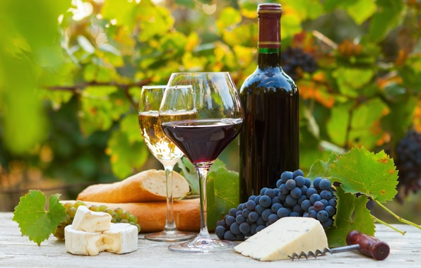 Picture wine, red, white, bottle, cheese, glasses, bread, grapes, baguette, corkscrew