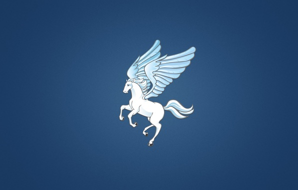 Picture horse, wings, minimalism, white, blue background, Pegasus, Pegasus, the winged horse