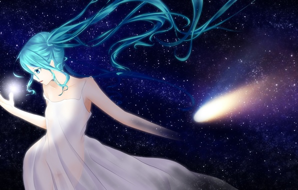 Picture the sky, girl, stars, anime, art, vocaloid, hatsune miku, ponta
