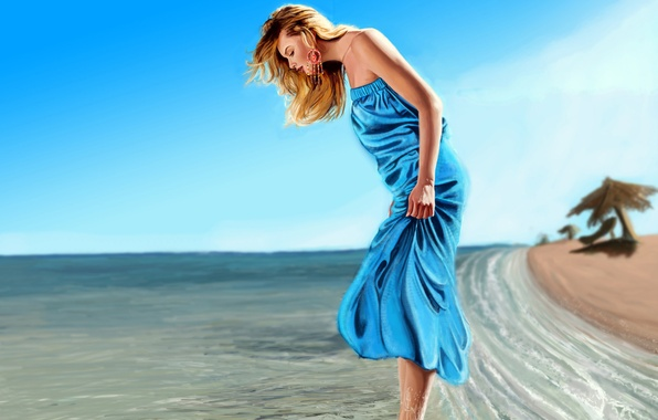 Picture sand, sea, wave, beach, girl, mood, dress, art, Prabhu K