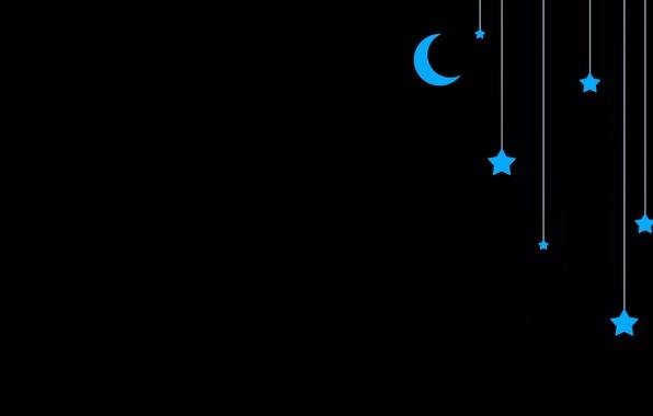 Picture stars, blue, the moon, black, sudochki