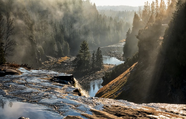 Picture fog, river, morning, Canada, Ontario, Oliver Paipoonge