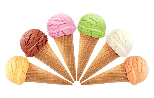 Picture balls, colored, ice cream, horn, balls, waffles, chocolate, ice cream, sundae, raspberry, horn, orange