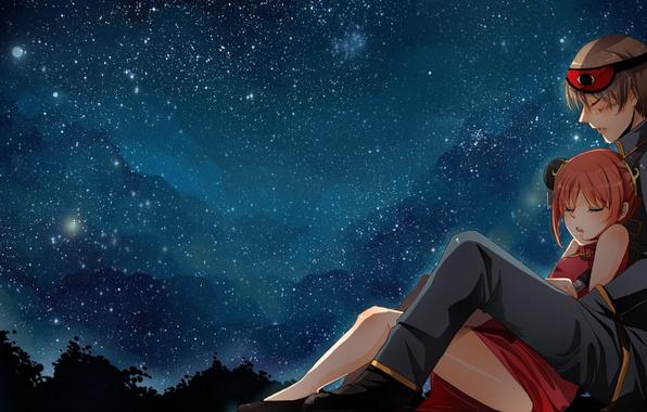 Picture the sky, girl, stars, night, anime, art, guy, gintama, kagura, okita sougo, nusine