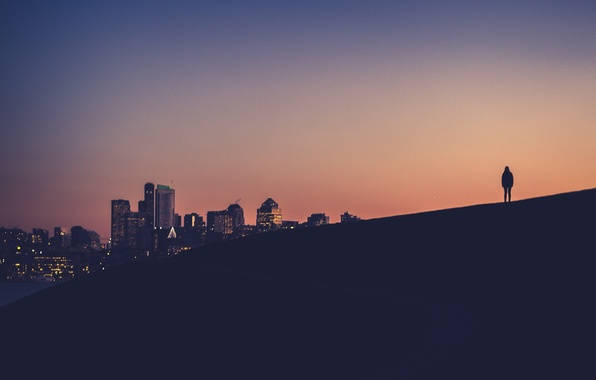 Picture twilight, sunset, hill, Washington, dusk, downtown, person, silhouette, Seattle, Eastlake
