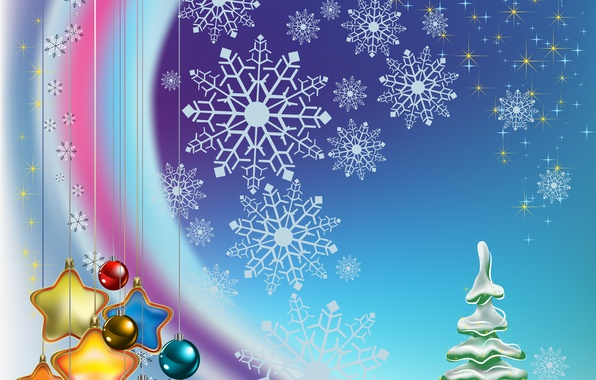 Picture stars, balls, decoration, snowflakes, balls, toys, graphics, tree, stars, Christmas, New year, tree