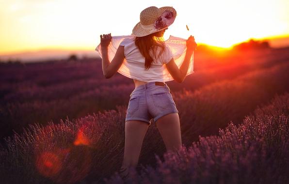 Picture girl, shorts, blouse, lavender, Studio Hors-champ, lavander on sunset