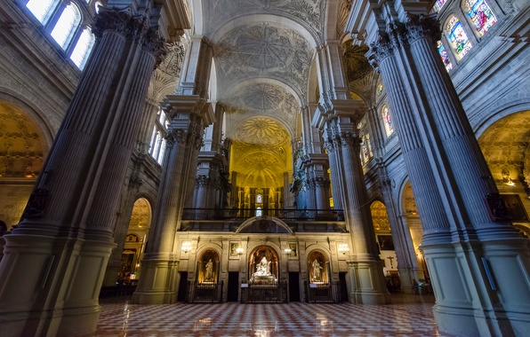Picture columns, Spain, religion, Malaga, Cathedral, the nave