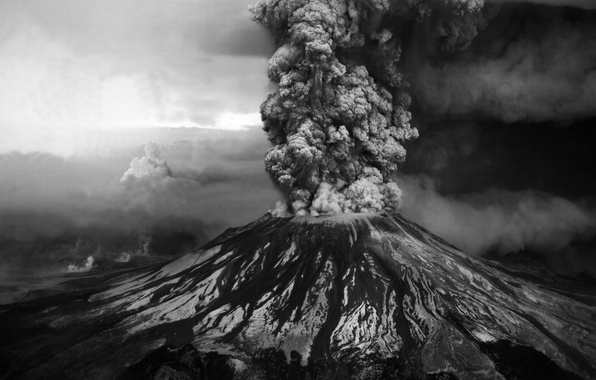 Picture ash, photo, mountain, the volcano, the eruption, black and white, Helena, st. helens