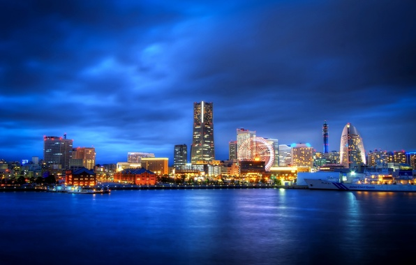 Picture night, the city, lights, skyscrapers, Japan, Bay, Ferris wheel, Japan, Yokohama, Yokohama, Kanagawa Prefecture, Kanagawa