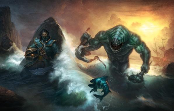 Picture sea, monster, kunkka, dota 2, Tidehunter, Breg
