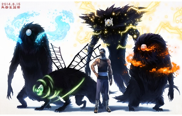 Picture water, fire, lightning, the air, monsters, elements, mask, naruto, anime, art, Kakuzu
