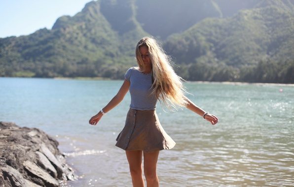 Picture summer, girl, joy, face, lake, hair, skirt, figure
