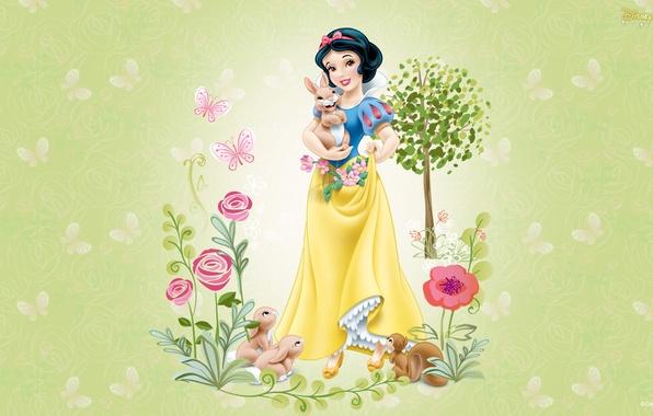 Picture animals, girl, flowers, animals, cartoon, friendship, snow white, disney, children's