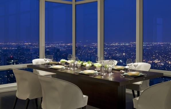 Picture design, the city, style, interior, the evening, restaurant, megapolis