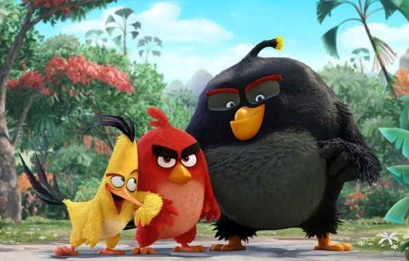Picture cinema, animation, red, Red, game, black, yellow, smile, flowers, birds, cartoon, movie, series, film, cute, ...