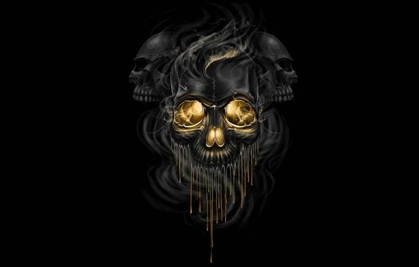 Picture fiction, smoke, art, skull, black background, skeletons