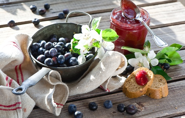 Picture flowers, twigs, Breakfast with berries and jam, Breakfast with berries and Jam