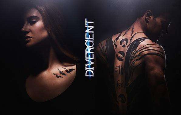 Picture fire, girl, woman, birds, man, symbol, tatoo, eye, hands, film, 2014, Four, Theo James, Shailene ...