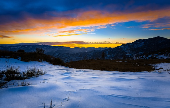 Picture winter, snow, sunset, mountains, the evening