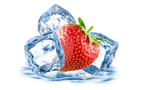 Picture ice, droplets, berry, strawberry, berry, ice, drops, strawberry