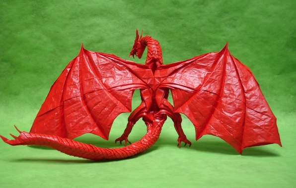Picture paper, dragon, wings, origami