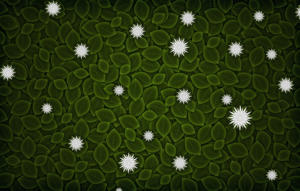 Picture leaves, flowers, minimalism, vector, 152