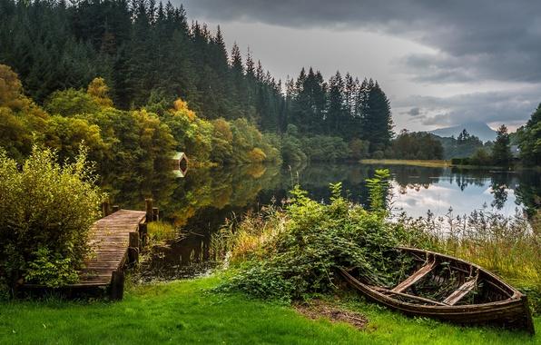 Picture autumn, forest, lake, boat, Scotland, the bridge, Scotland, Loch Lomond, Trossachs National Park