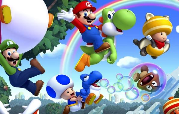 Picture leaves, trees, mushrooms, rainbow, Mario, Mario, Nintendo, Wii U, Luigi, Luigi, bubble, Super Mario Bros. …