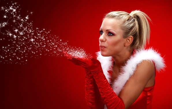 Picture girl, red, background, mood, holiday, New Year, blonde, gloves, maiden, fur, in red