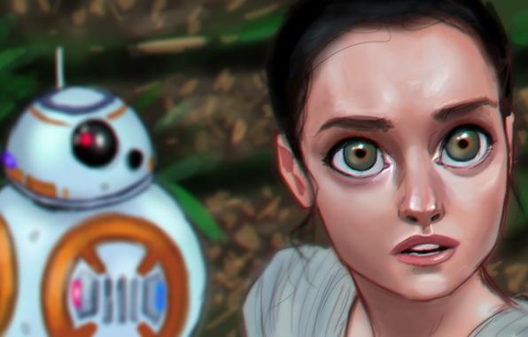 Picture eyes, look, girl, robot, Star Wars, art, Episode VII, Star wars: the force awakens, Star …