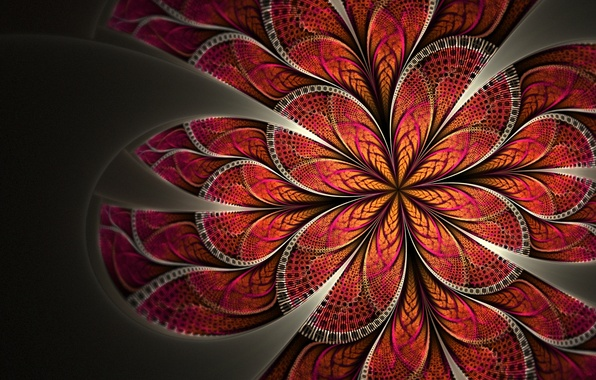 Picture flower, red, pattern, petals, art