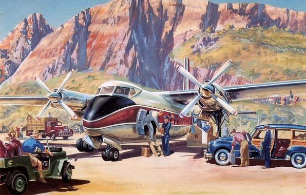 Picture mountains, the plane, figure, art, painting, the airfield, preparation, departure.