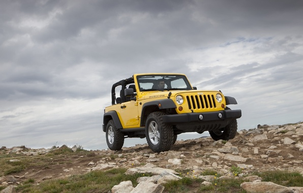 Picture mountains, yellow, jeep, SUV, Jeep Wrangler 2011