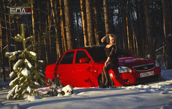 Picture winter, machine, auto, girl, snow, red, auto, LADA, Priora, VAZ, BPAN, Prior