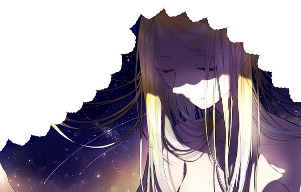 Picture the sky, girl, stars, anime, art, blind, sogawa66