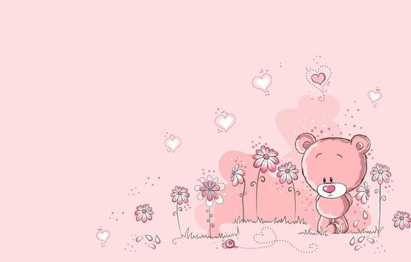 Picture summer, flowers, heart, snail, art, bear