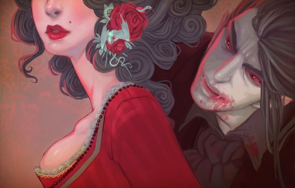 Picture girl, art, vampire, Dracula