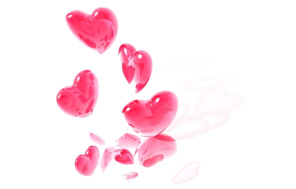 Picture love, pink, romance, heart, minimalism, hearts, white background