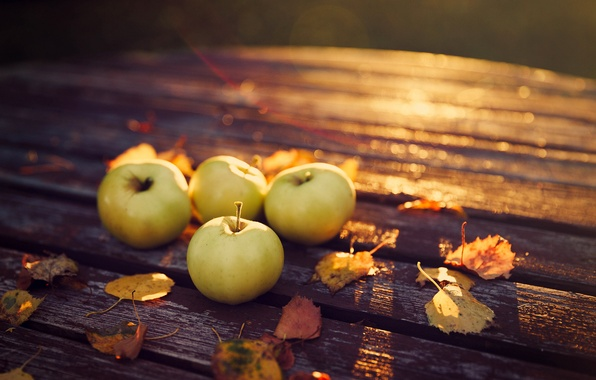 Picture autumn, leaves, nature, table, apples, the evening, harvest