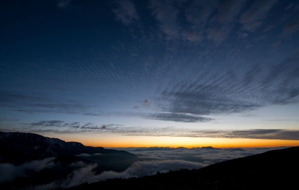 Picture the sky, clouds, mountains, dawn, hills, morning, Japan, haze, Nagano Prefecture, The Japanese Alps
