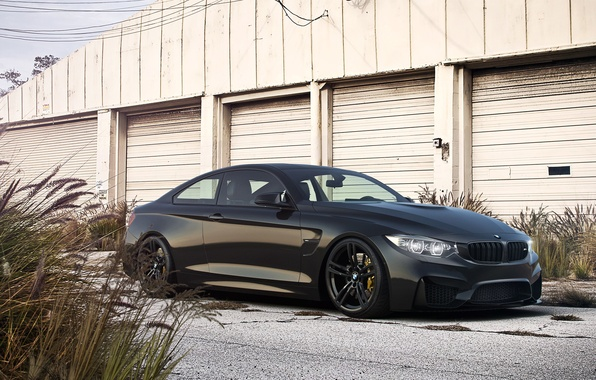 Picture BMW, Car, Front, Black, Coupe, Matte, Wheels, Ligth