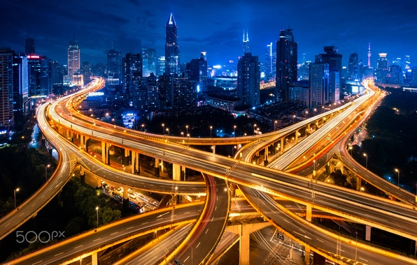 Photo wallpaper lights, China, night, road, the city, Shanghai