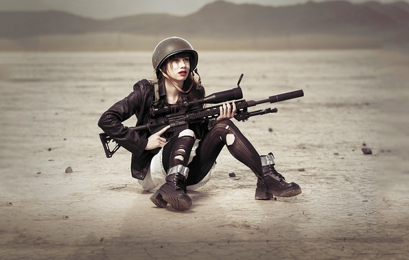 Picture field, girl, weapons, stockings, brunette, sniper, sight, helmet