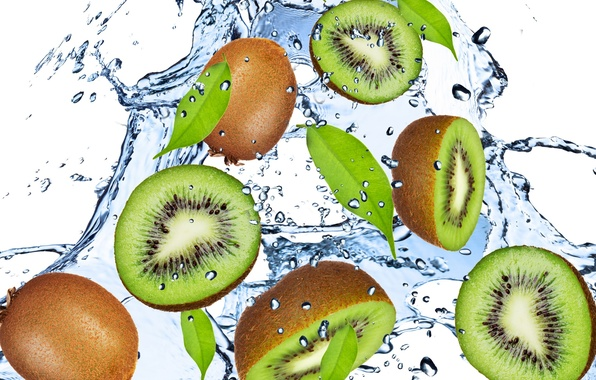 Picture water, drops, squirt, freshness, green, kiwi, fruit, green, Kiwi, water, fruit, drops, spray