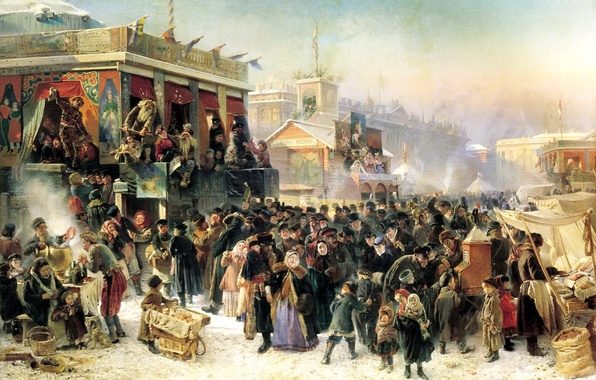 Picture people, holiday, the crowd, building, picture, painting, samovar, trade, trays, Makovsky, festivities during carnival time, …