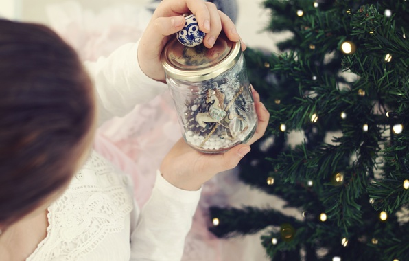 Picture girl, tree, Bank, New year, horse