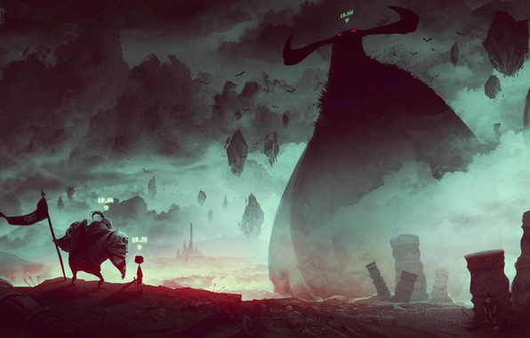Picture death, the game, art, giant, battle, boss