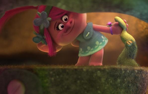 Picture fantasy, forest, magic, flower, pink hair, dress, pink, DreamWorks, chibi, cartoon, singer, hero, queen, Justin …